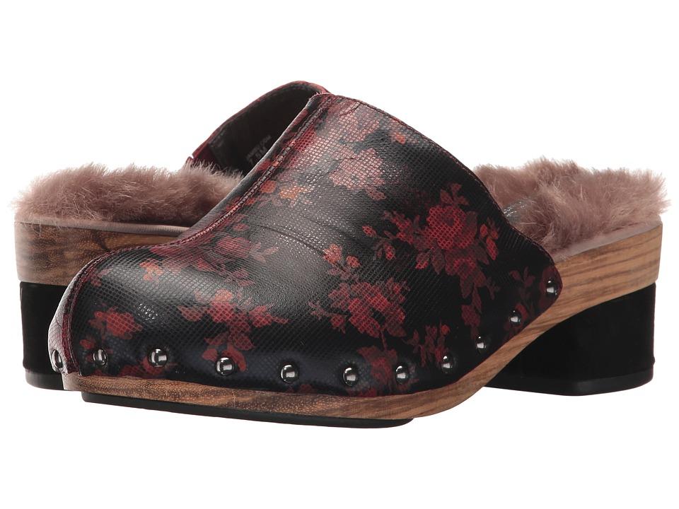 Jambu Monaco (Wine Floral Printed Leather/Faux Fur) Women...