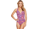 Tile Print Flyaway Strapless One-Piece w/ Molded Cups