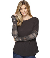 Dylan by True Grit - Soft Slub Knit T-Shirt w/ Floral Lace Sleeve