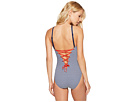 LAUREN Ralph Lauren Modern Marine Shaping High Neck Lace Back Mio One-Piece