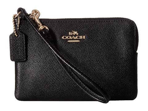 COACH Crossgrain Leather Small Wristlet - LI/Black