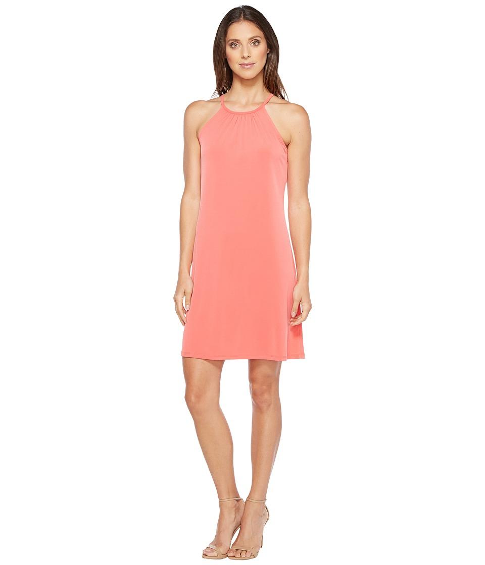 MICHAEL Michael Kors Solid Matte Jersey Halter Dress (Sangria) Women