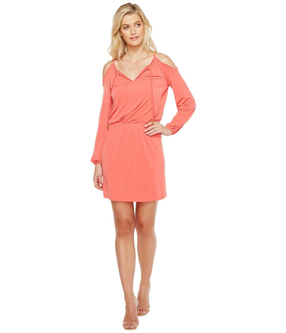 MICHAEL Michael Kors Matte Jersey Cold Shoulder Dress (Sangria) Women