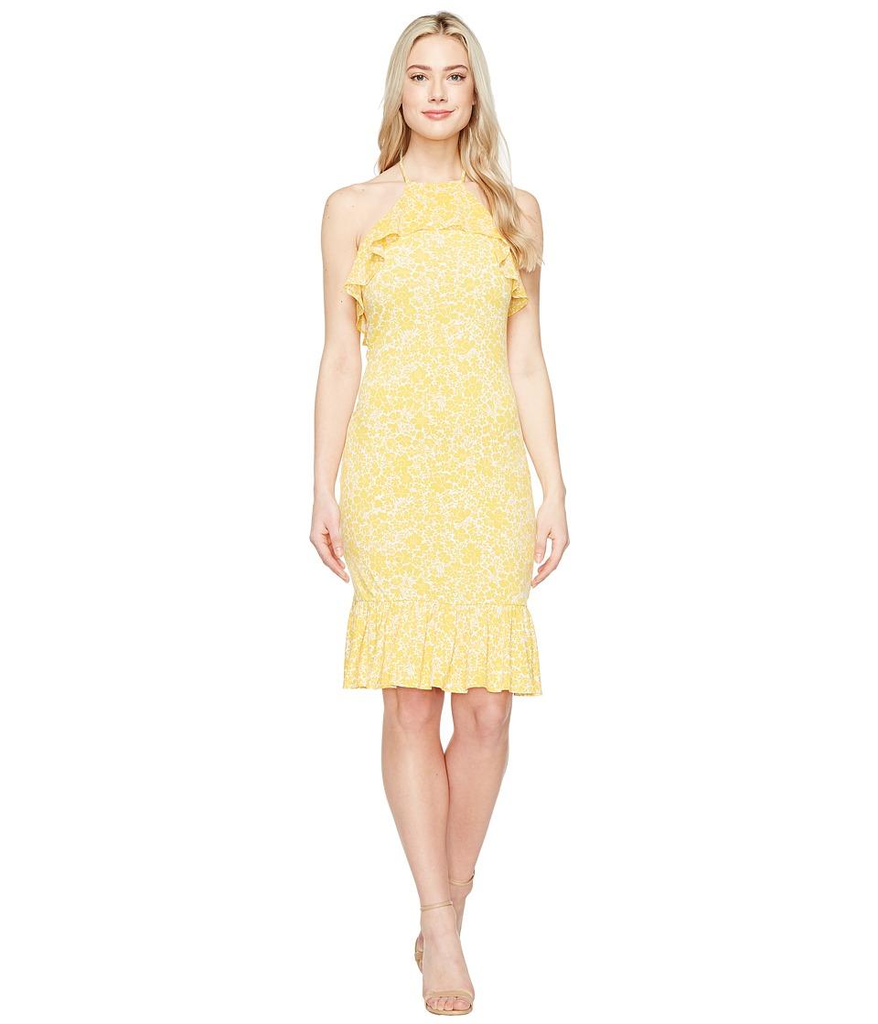 MICHAEL Michael Kors Tansy Halter Flounce Dress (Taxi Yellow) Women