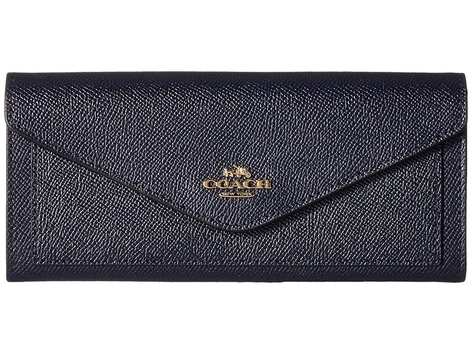 COACH - Soft Wallet In Crossgrain Leather (LI/Navy) Wallet Handbags
