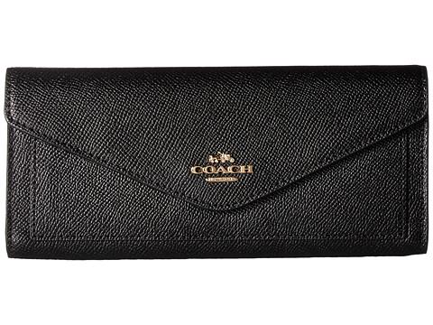 COACH Soft Wallet In Crossgrain Leather - LI/Black