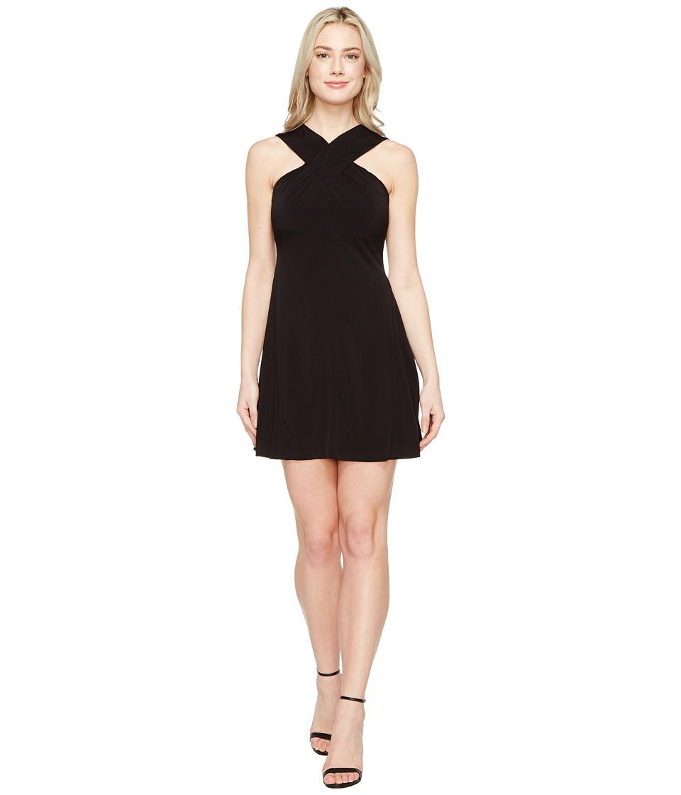 MICHAEL Michael Kors Cross Neck Dress (Black) Women