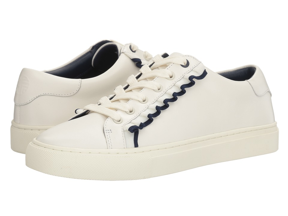 Tory Sport - Ruffle Sneaker (Snow White/Navy Sea) Women's...
