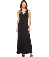 MICHAEL Michael Kors - Solid Embroidered V-Neck Maxi