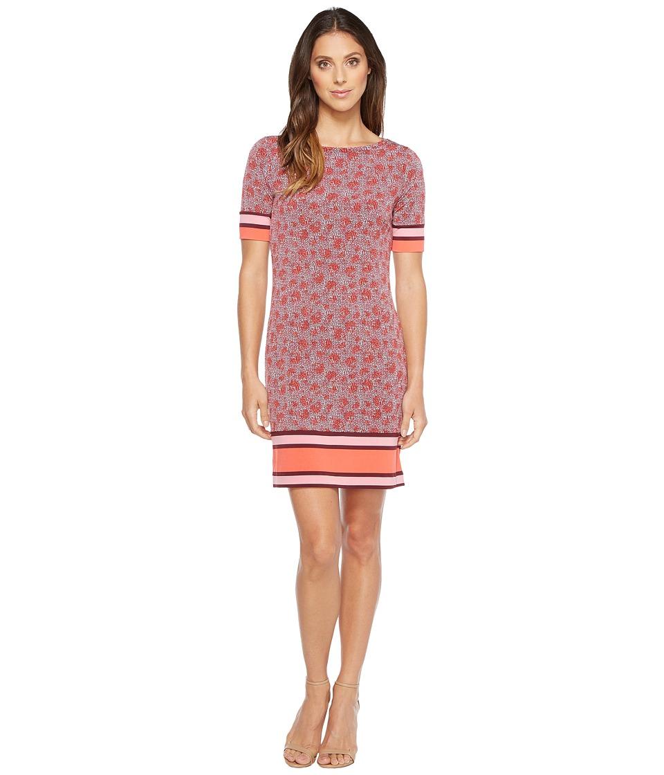 MICHAEL Michael Kors Augusta Border Short Sleeve Dress (Sangria) Women