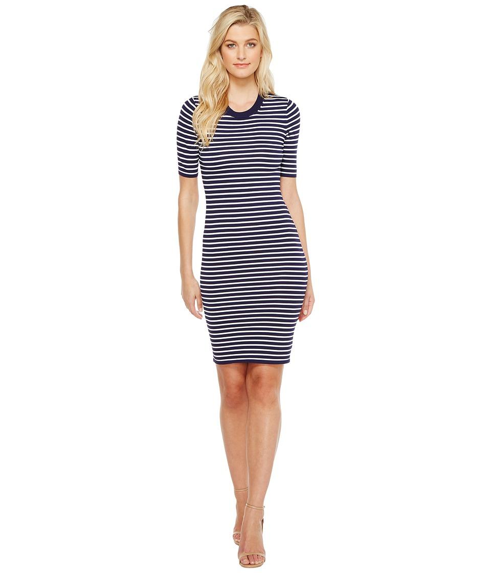 MICHAEL Michael Kors Short Sleeve Striped Tee Dress (White) Women