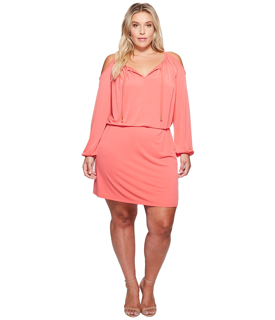 MICHAEL Michael Kors Plus Size MJ Cold Shoulder Dress (Sangria) Women