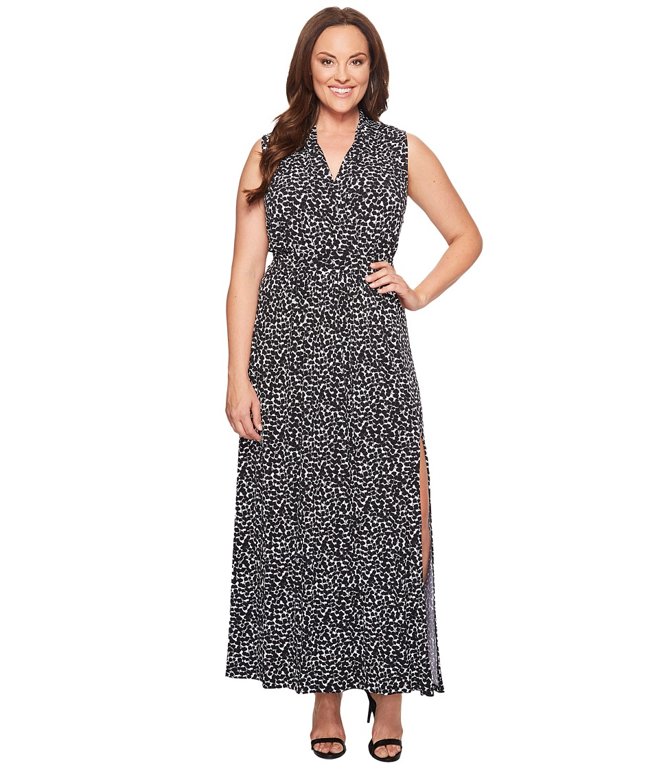MICHAEL Michael Kors Plus Size Mini Finy Slit Maxi Dress (Black) Women