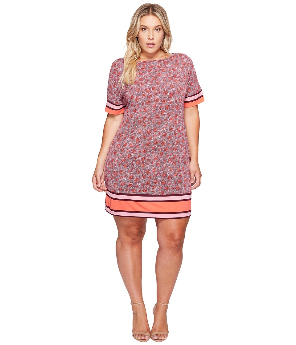MICHAEL Michael Kors Plus Size Augusta Border Short Sleeve Dress (Sangria) Women