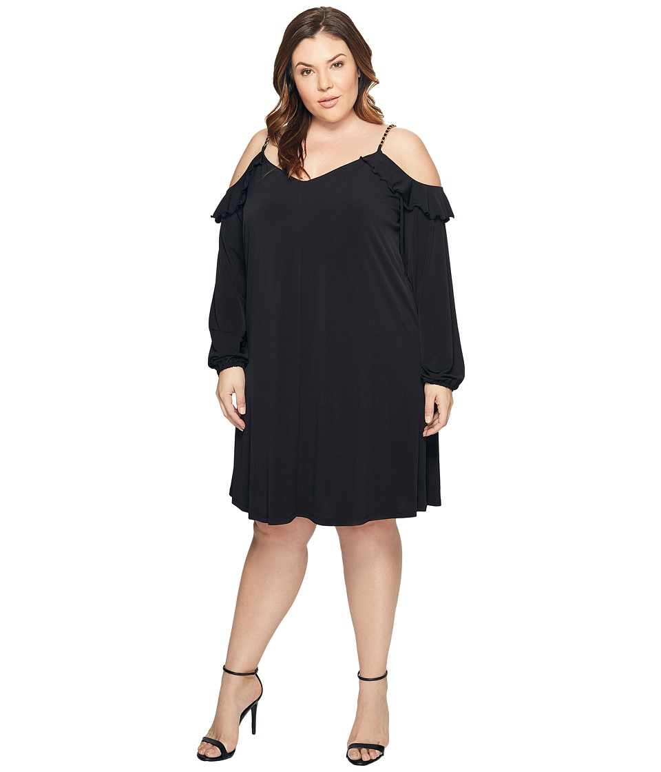 MICHAEL Michael Kors Plus Size Cold Shoulder Chain Strap Dress (Black) Women