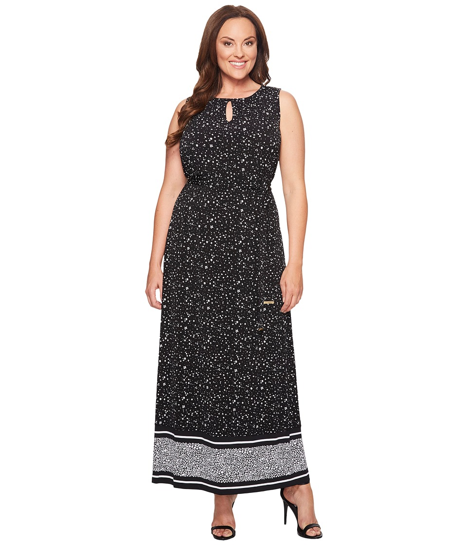MICHAEL Michael Kors Plus Size Nora Border Maxi Dress (Black) Women