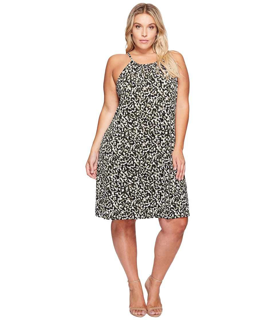 MICHAEL Michael Kors Plus Size Camo MJ Halter Dress (Safari Green) Women