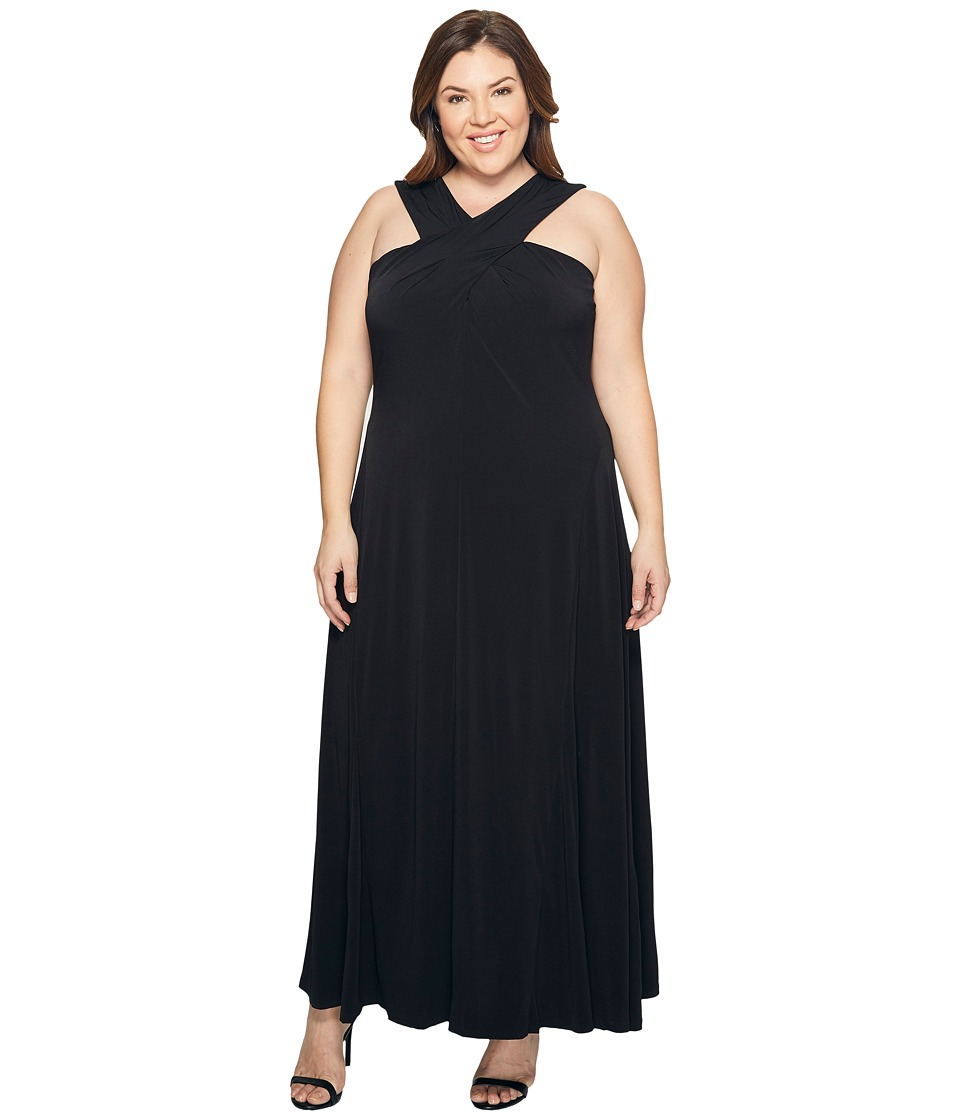 MICHAEL Michael Kors Plus Size Cross Neck Dress Maxi (Black) Women