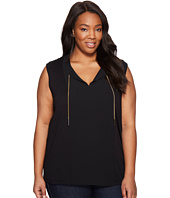 MICHAEL Michael Kors - Plus Size Short Sleeve Woven Panel Chain Tie