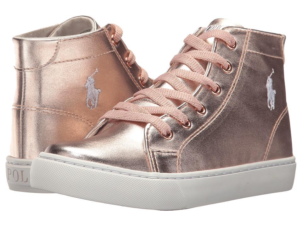 Polo Ralph Lauren Kids Slater Mid (Little Kid) (Rose Gold Metallic w/ White Pony) Girl's Shoes