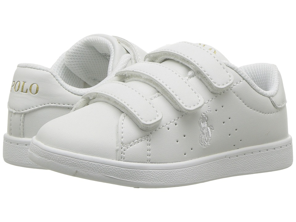 Polo Ralph Lauren Kids Quincey Court EZ (Toddler) (White Tumbled w/ White Pony Gold) Boy's Shoes