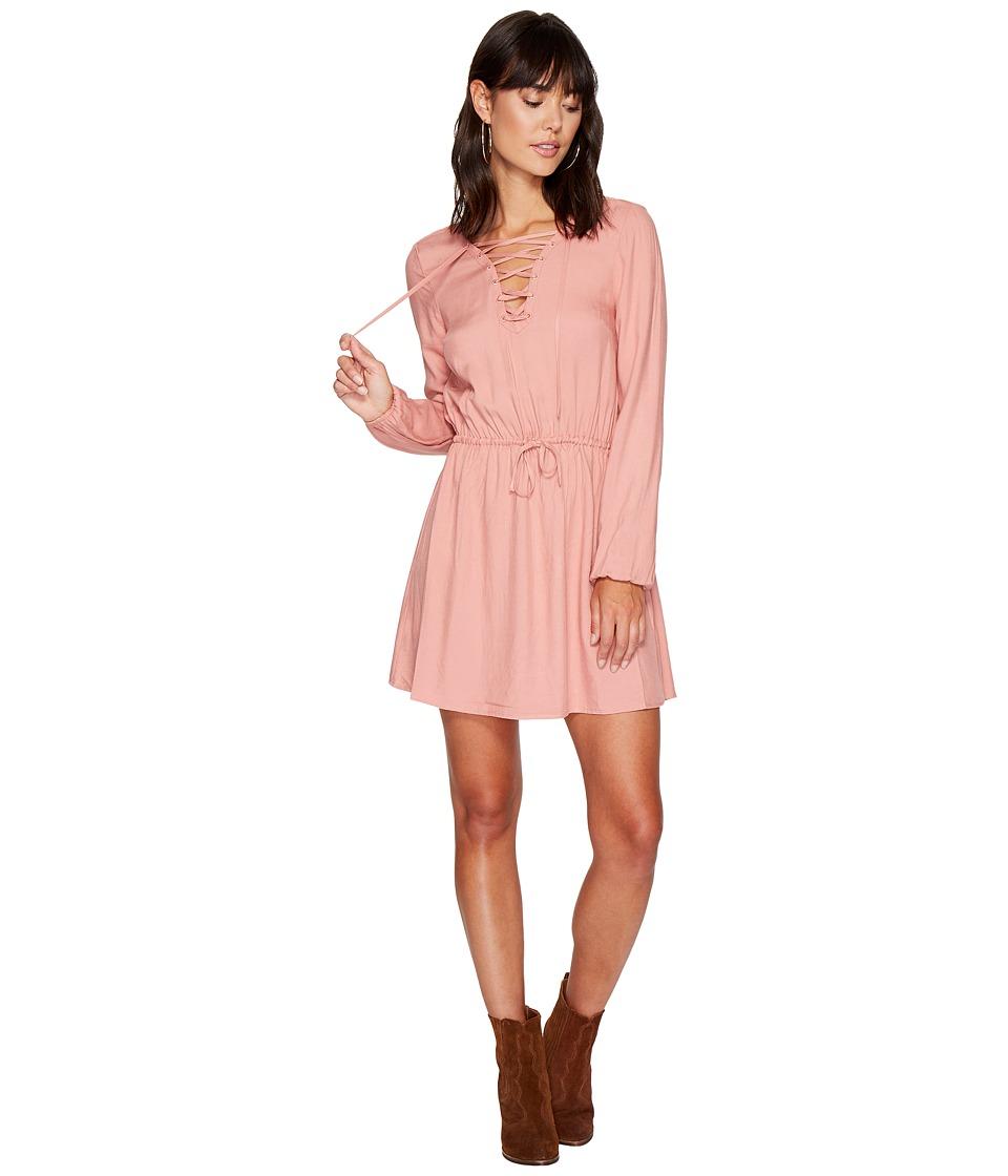 Jack by BB Dakota Char Rayon Twill Lace-Up Dress (Rose Dawn) Women