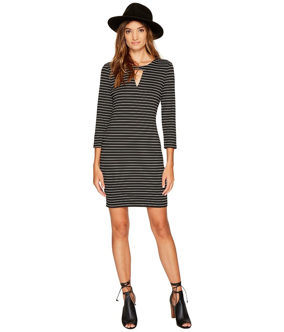 Jack by BB Dakota Mici Stripe Ponte Cut Out Dress (Black) Women