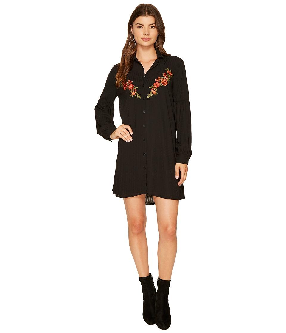 Jack by BB Dakota Spense Shawdow Stripe Dress with Embroidery Detail (Black) Women