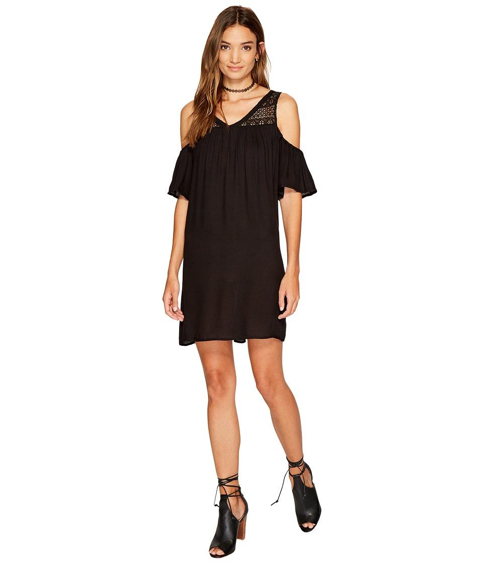 Jack by BB Dakota Dunbar Rayon Crepe with Lace Yoke Dress (Black) Women