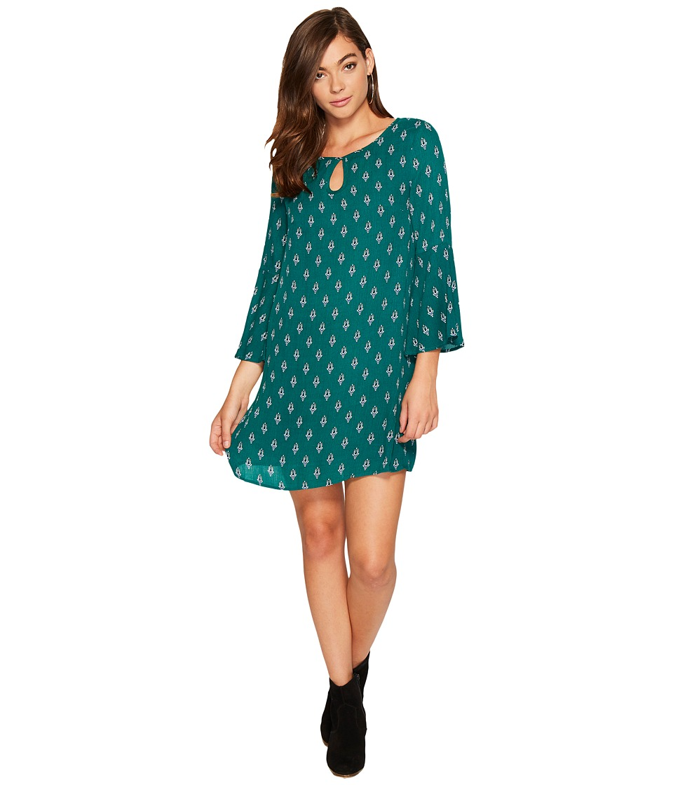 Jack by BB Dakota Kurle Tail Feather Printed Rayon Crepe Dress (Forest Green) Women