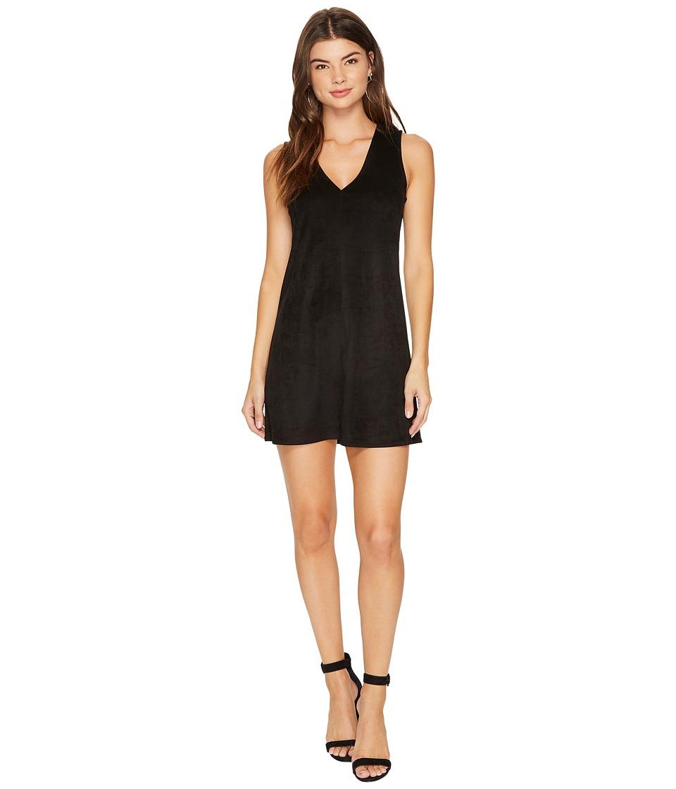 Jack by BB Dakota Coyle Drapey Faux Suede Dress (Black) Women