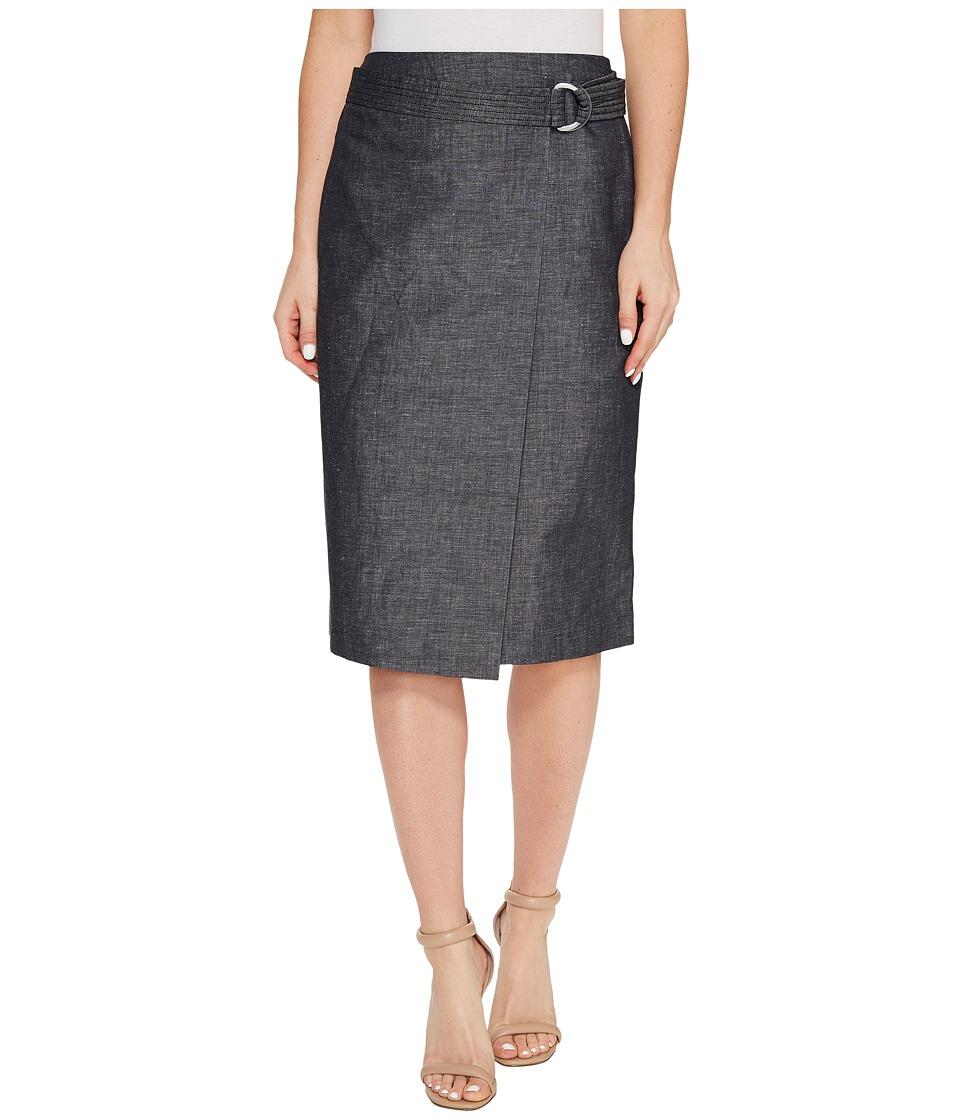 Ellen Tracy - Faux Wrap Belted Skirt