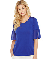 Ellen Tracy - Mixed Media Flounce Sleeve Top
