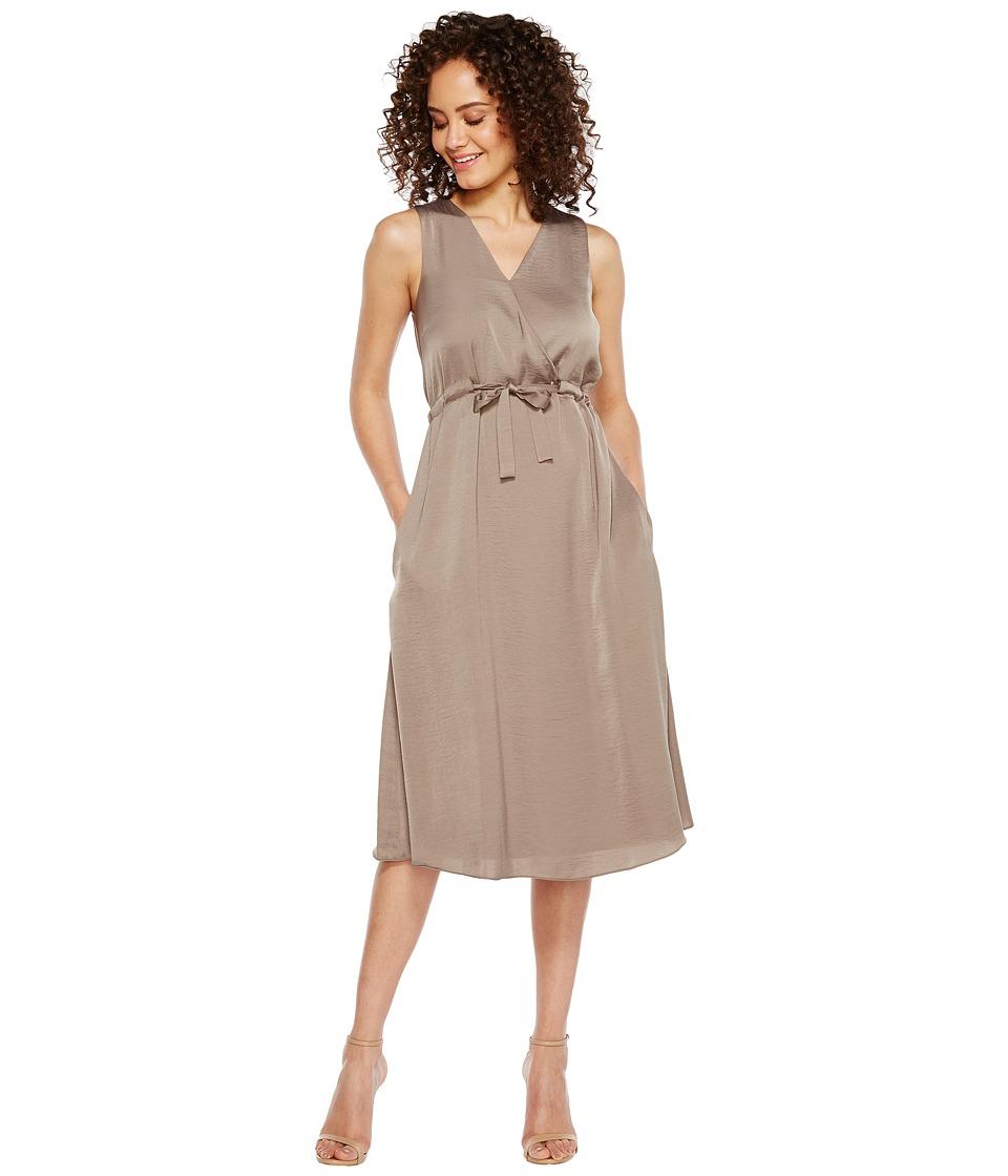 Ellen Tracy Front Tie Wrap Dress (Seagrass) Women