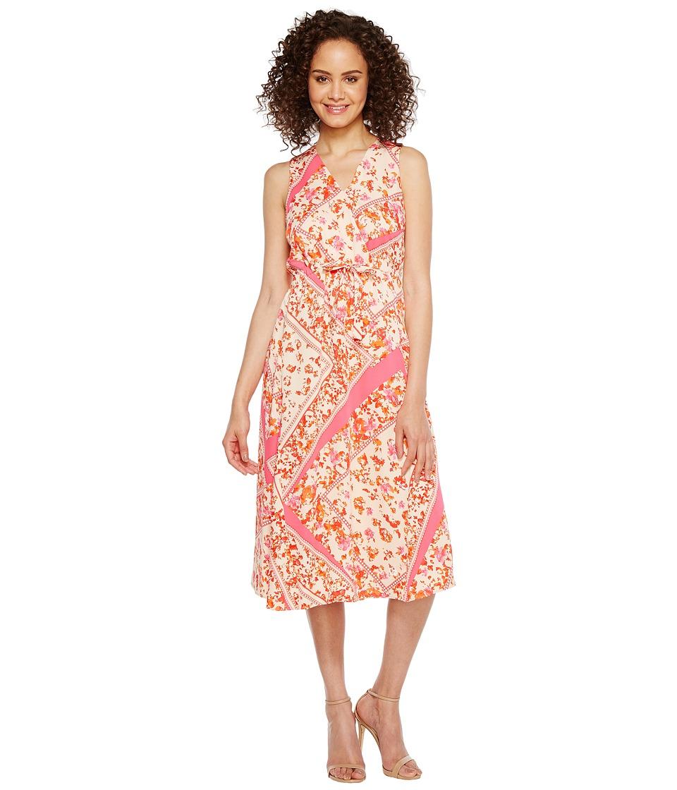 Ellen Tracy Front Tie Wrap Dress (Scarf/Begonia Combo) Women