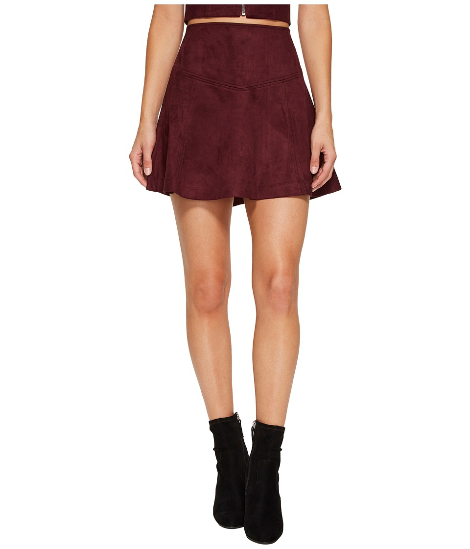 Jack by BB Dakota Hal Faux Suede Scuba Skirt (Dark Fig) Women