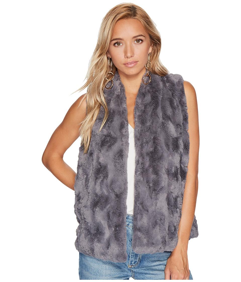 Jack by BB Dakota Cheerio Swirly Textured Soft Faux Fur Vest (Charcoal Grey) Women