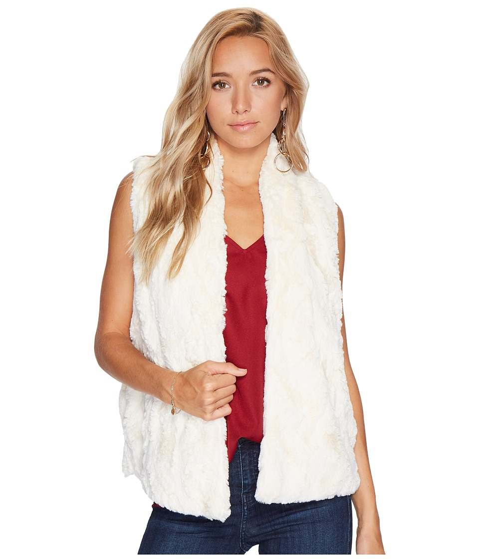 Jack by BB Dakota Cheerio Swirly Textured Soft Faux Fur Vest (Ivory) Women