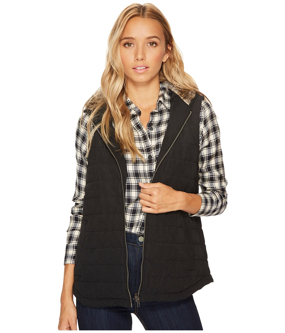 Jack by BB Dakota Meiker Microfiber Vest with Fur Lined Hood (Black) Women