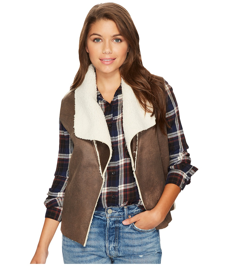 Jack by BB Dakota Goodrich Faux Suede Vest with Shearling Backing (Dark Taupe) Women