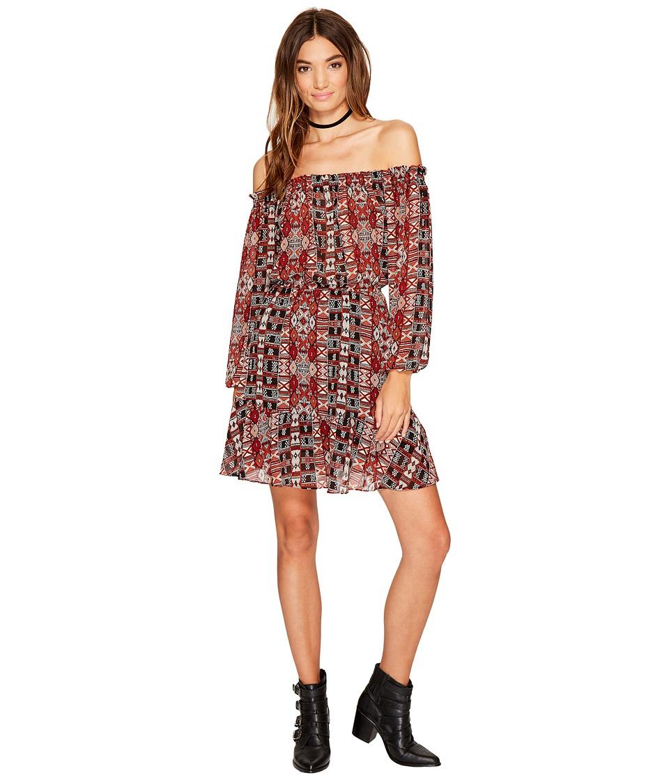 BB Dakota Sienna Printed Off the Shoulder Dress (Black) Women