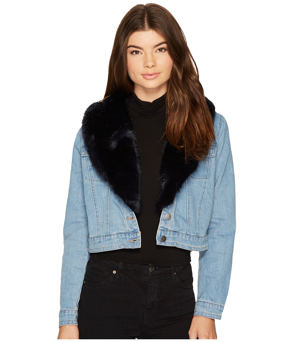 BB Dakota Mia Faux Fur Trim Denim Jacket (Light Blue) Women