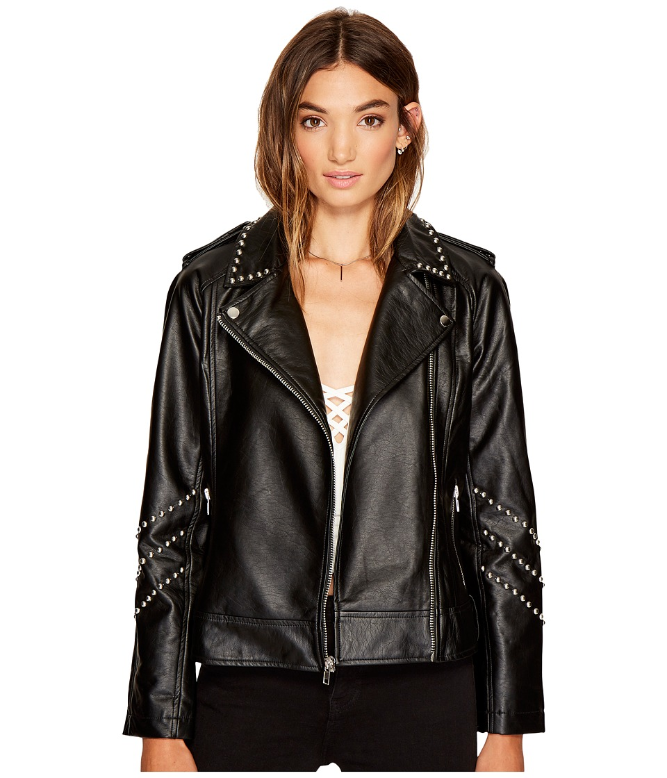 BB Dakota - Jerilyn Studded Faux Leather Jacket (Black) Womens Coat