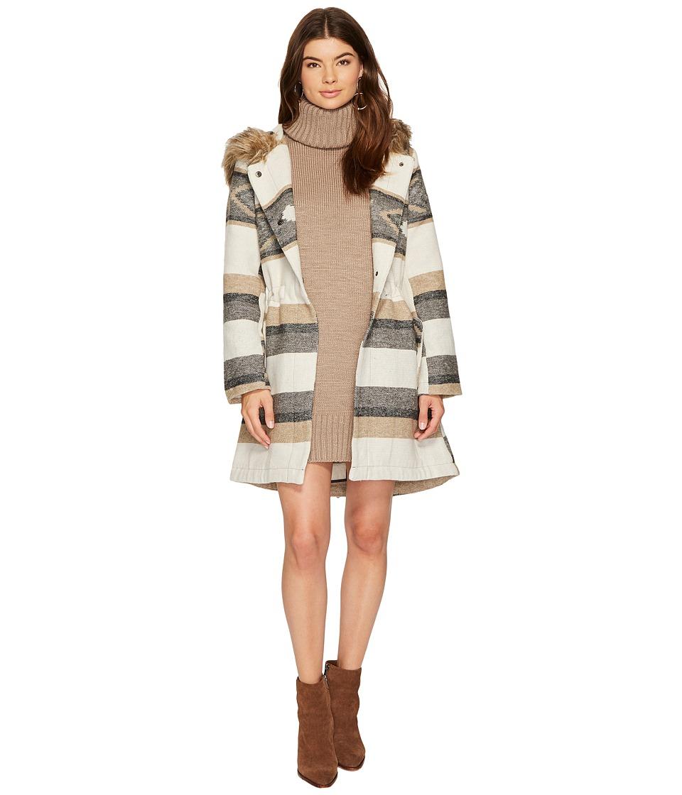 BB Dakota Ryker Faux Fur Hooded Coat (Oatmeal) Women