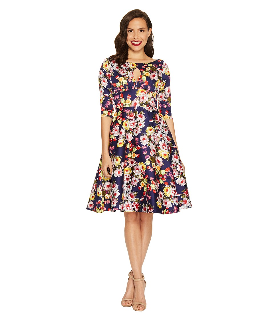 Unique Vintage Keyhole Bouvier Swing Dress (Navy Floral) Women