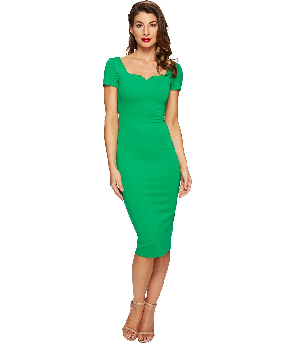 Unique Vintage Harris Knit Wiggle Dress (Green) Women