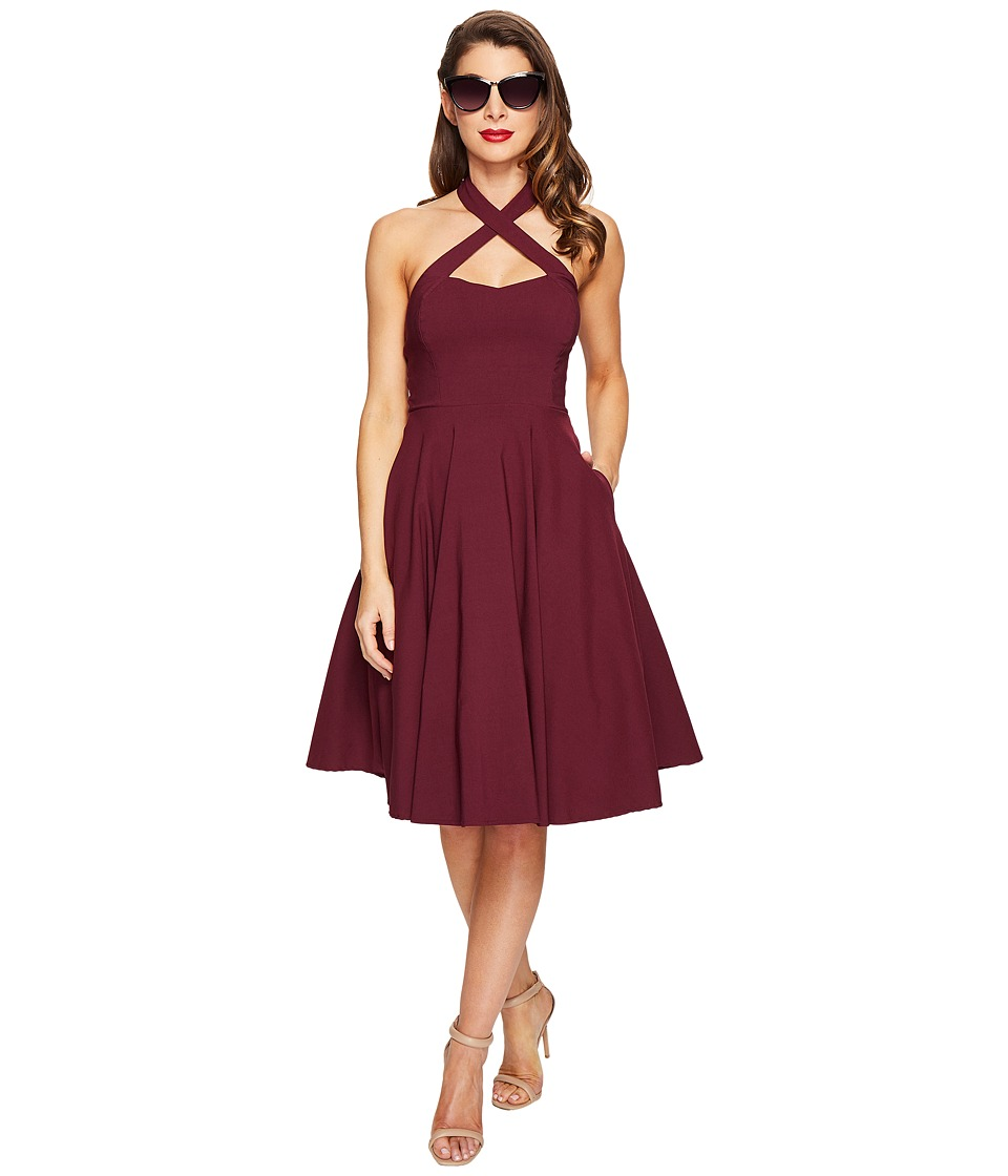 Unique Vintage Rita Cross Neck Flare Dress (Purple) Women
