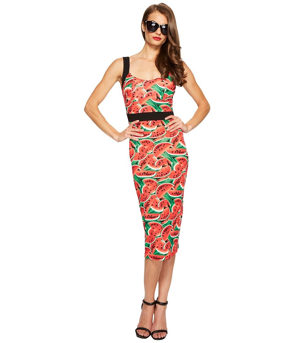 Unique Vintage Summerstock Fitted Dress (Watermelon Print) Women