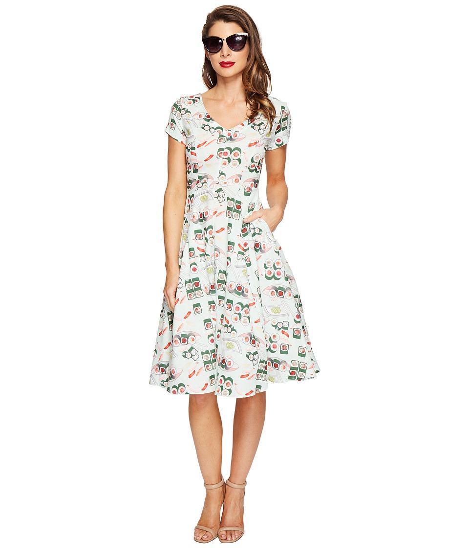 Unique Vintage Phoebe Swing Dress (Sushi Print) Women