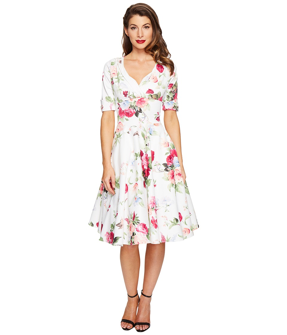 Unique Vintage 1/2 Sleeve Delores Swing Dress (White Floral Posey Print) Women